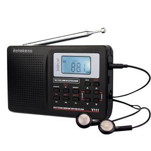 Radio portabil cu baterii Retekess V-111, AM/FM/SW/casti/ceas